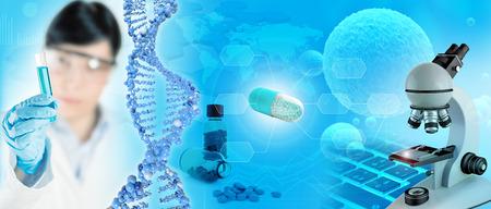 Científico, ADN y microscopio en azul abstracto