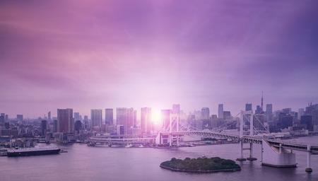 Beautiful twilight over Tokyo bay and rainbow bridge Фото со стока