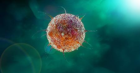 Virus cell in green Фото со стока
