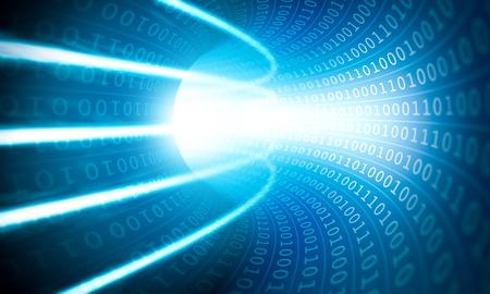 Glowing lights in a binary code tunnel Фото со стока