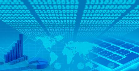 Global financial market charts, binary code