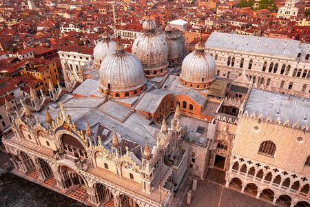 View of Saint Marks Basilica and city roofs, Venice, Italy Stock fotó