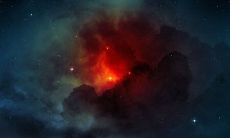 red nebula and cosmic dust in the outer space