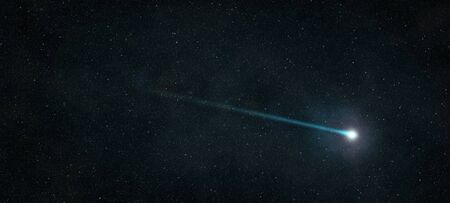 Shooting star that shines in the starry night sky