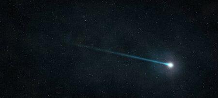 Spadająca gwiazda, która świeci na rozgwieżdżonym nocnym niebie