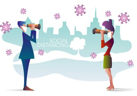 man and woman wearing protective mask, looking through binoculars and keeping distance for virus infection risk, vector illustration