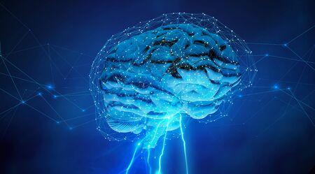 digital neural network around a human brain, 3d illustration