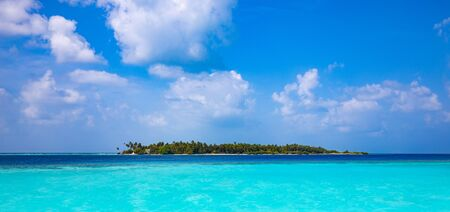 tropical island, palm trees and turquoise sea under a blue sky with white clouds Standard-Bild