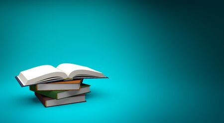 open book on a stack of books isolated on blue background with copy space, 3d illustration Фото со стока