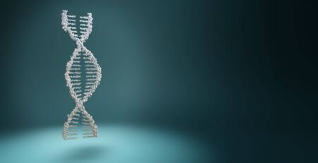 DNA helix floating under a spotlight isolated on blue