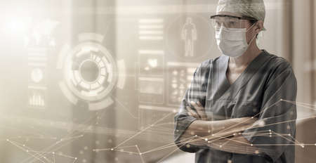 half length portrait of a female doctor looking at a digital screen in hud style, concept of futuristic health care service