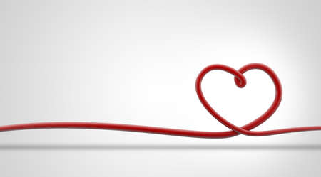 3d illustration of red line in heart shape isolated on white background, concept for valentine's day, Christmas holiday or birhtday