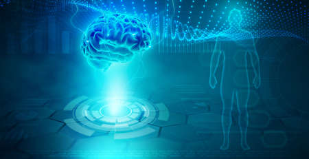 Futuristic background represents scientific research in the medical field. Human figure and brain magnification, 3d illustration