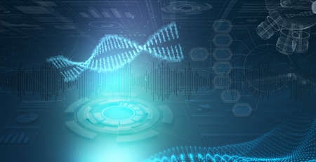 The futuristic background represents scientific research in the medical field. Representation of a synthetic DNA helix, 3d illustration Standard-Bild