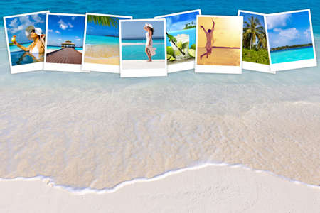 collection of photographs of moments on vacation in a paradise island, concept of travel and vacation. In the background, a closeup of a beach of soft sand bathed by transparent waves Standard-Bild