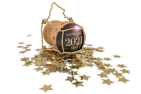 new year's champagne cork and golden stars on white