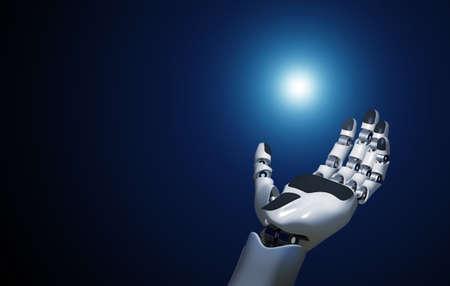 open robotic hand holds a point of light Standard-Bild