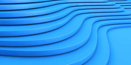 Abstract blue bent texture. Geometric wavy background, 3d illustration