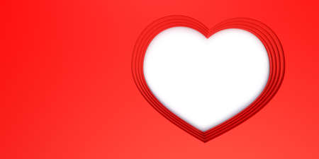 Red background layered in shape of a heart with white hole and space for text and images. 3d illustration, concept about Valentine's or Mother's day.