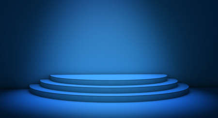 Empty stage illuminated by a spotlight. 3d rendering of three steps in a blue room. Concept for art exhibition, business and commercial ads