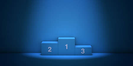 Numbered podium in a blue room illuminated by a spotlight, 3d illustration.
