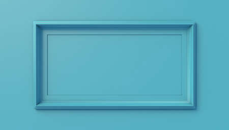 Blue frame isolated on blue wall, 3d illustration. Concept image for gallery exhibition or commercial communication.