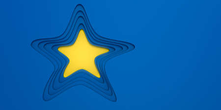 Blue paper cut in layered star shape with yellow hole and space for text. 3d illustration. Layout design for brochure, poster, business advertising.