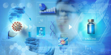 vaccine clinical research. Abstract background with infographics and images, 3d illustration.