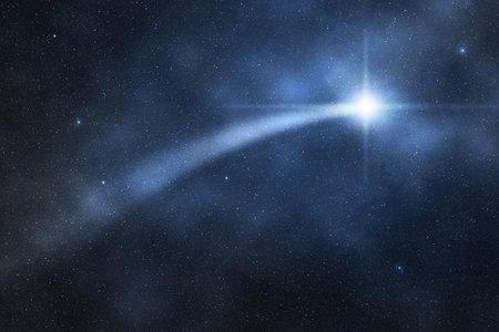twinkling shooting star in starry night sky