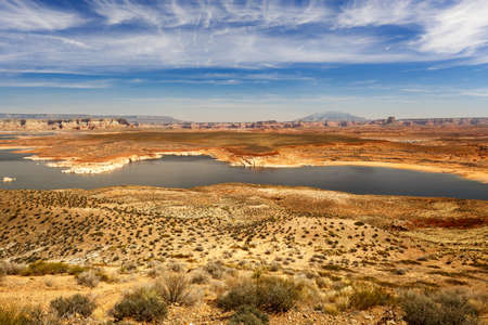 panoramic view of Lake Powell and Arizona desert under a blue sky