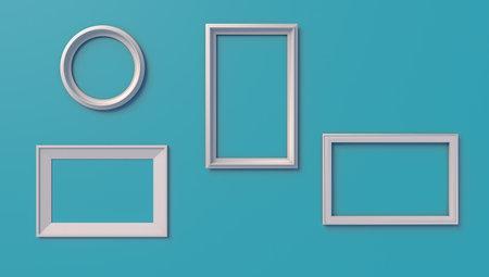 Set of empty frames on light blue background, 3d illustration.