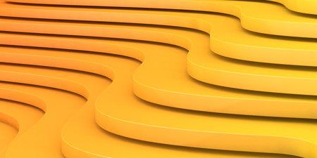 Orange curved stairs texture. Geometric wavy background, 3d illustration Standard-Bild