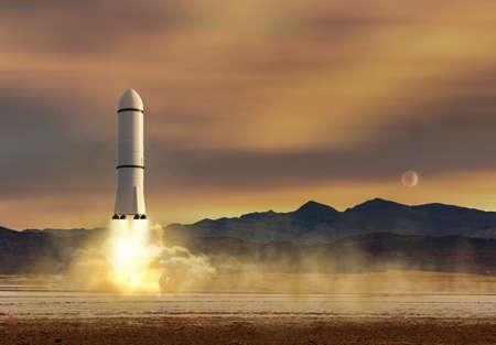 Spaceship landing on Mars. Aerospace expedition in desert landscape of the red planet, 3d illustration Standard-Bild