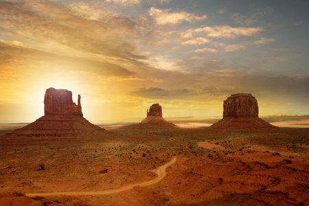 Panoramic view of Monument Valley at sunset. Navajo Tribal Park, Arizona - Utah, USA