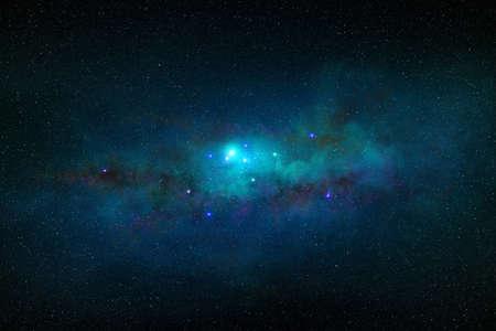 dark nebula and blue constelllation in night starry sky