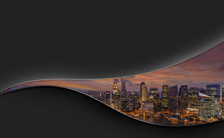 City skyline in a curve line on black background with space for text. Layout design for travel magazine, brochure, business presentation.