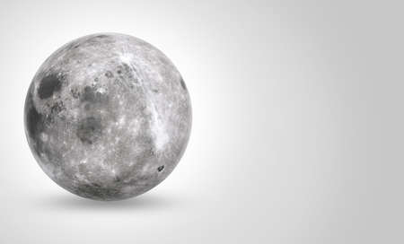 Full moon isolated on white background with space for text, 3d illustration. Standard-Bild