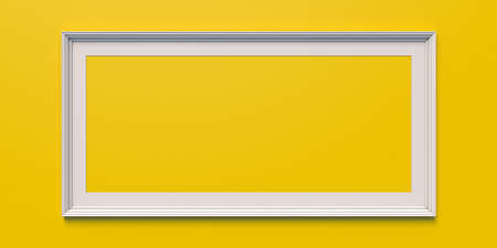 Empty white picture frame hung on yellow wall with space for text and image. 3d illustration