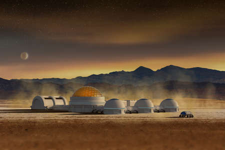 Futuristic base station in a space desert landscape, 3d illustration. Martian or extraterrestrial human colony and research habitat. Standard-Bild