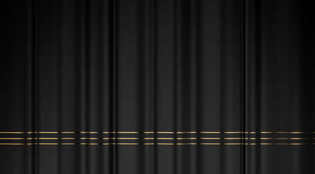 Black curtain with golden lines. Elegant drapery fabric backdrop.