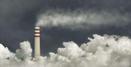 Factory smokestack emitting toxic fumes in a gray and cloudy sky, 3d illustration. Concept of industrial air pollution, climate change and global warming.