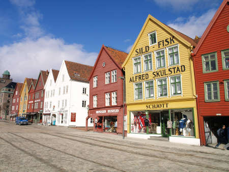 fasade: bryggen in Bergren Stock Photo
