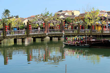 Thu Bon river. Hoi An, Vietnam. Ancient city. World heritage