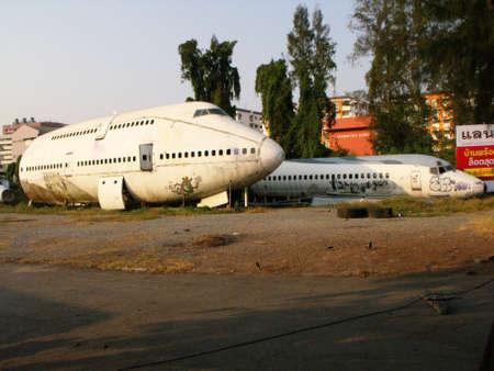 Bangkok, Thailand, April 12, 2016: Fuselage of several large aircraft abandoned in the city of Bangkok. Thailand Editorial