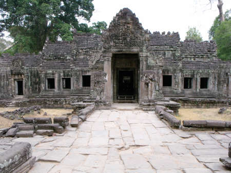 Siem Reap, Cambodia, April 8, 2016: Stone path leading to one of the many temples in the Khmer temple complex of Angkor