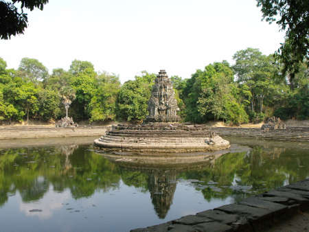 Siem Reap, Cambodia, April 8, 2016: One of the Neak Poun water-surrounded monuments in the Khmer temple complex of Angkor
