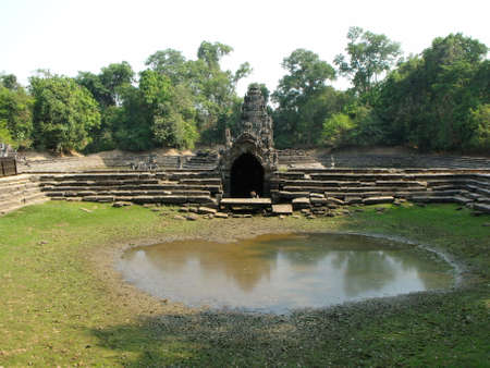 Siem Reap, Cambodia, April 8, 2016: Ruins of Neak Poun in the Khmer temple complex of Angkor