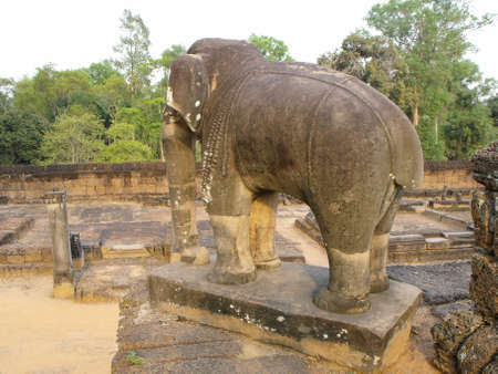 Siem Reap, Cambodia, April 8, 2016: Figure of a stone elephant in the East Baray temple in the Khmer temple complex of Angkor