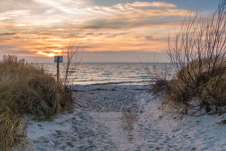 Baltic Sea and sand dunes on the beach. Poland. Banco de Imagens