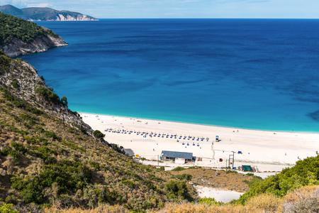 Amazing Myrtos beach on Kefalonia island. View from above. Greece